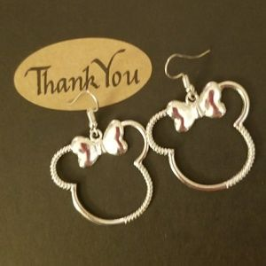 Silver Minnie Mouse Silhouette Earrings